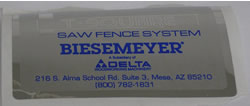 Biesemeyer Tool Part 1350156 Biesemeyer Name Plate 1350156