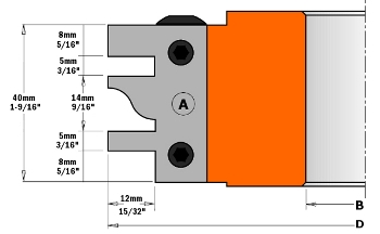 CMT One Piece Rail and Stile Cutter Head 694.014 694.014