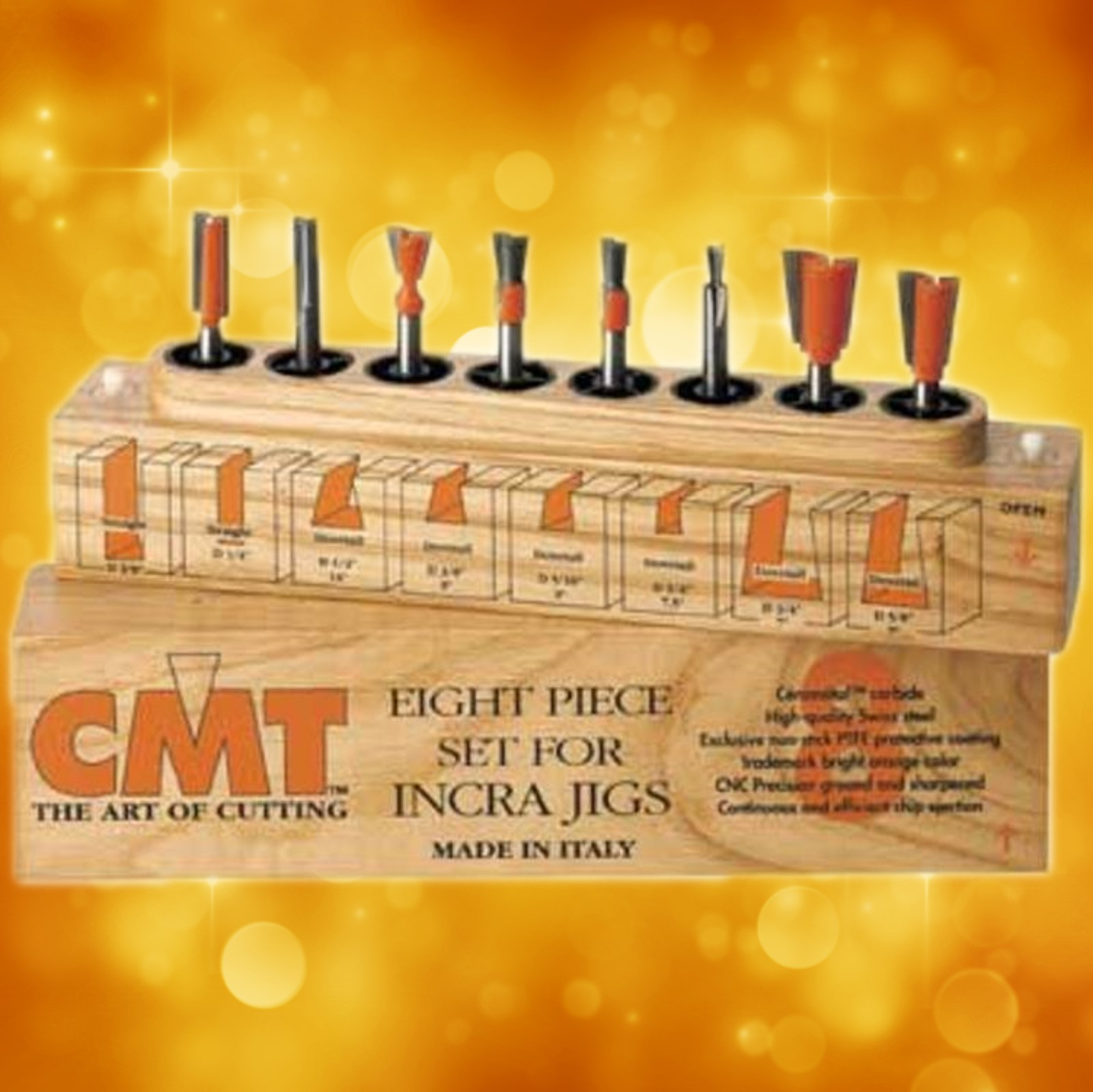 "CMT 8-Piece Dovetail & Straight Bit Set 1/2"" shanks for INCRA & JOINTECH JIG 800.501.11"