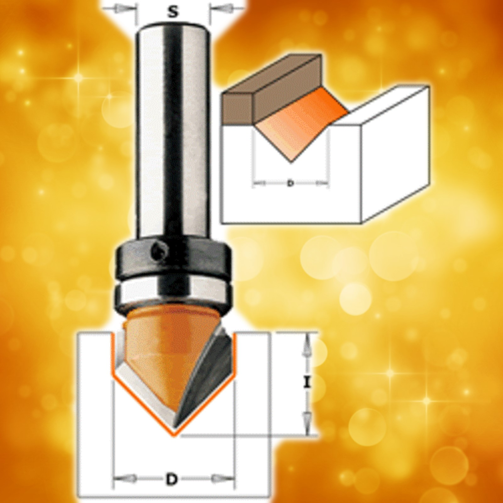 "CMT V-Groove Router Bit with bearing 90º, 1/2"" diameter, 1/4"" shank   815.127.11B"