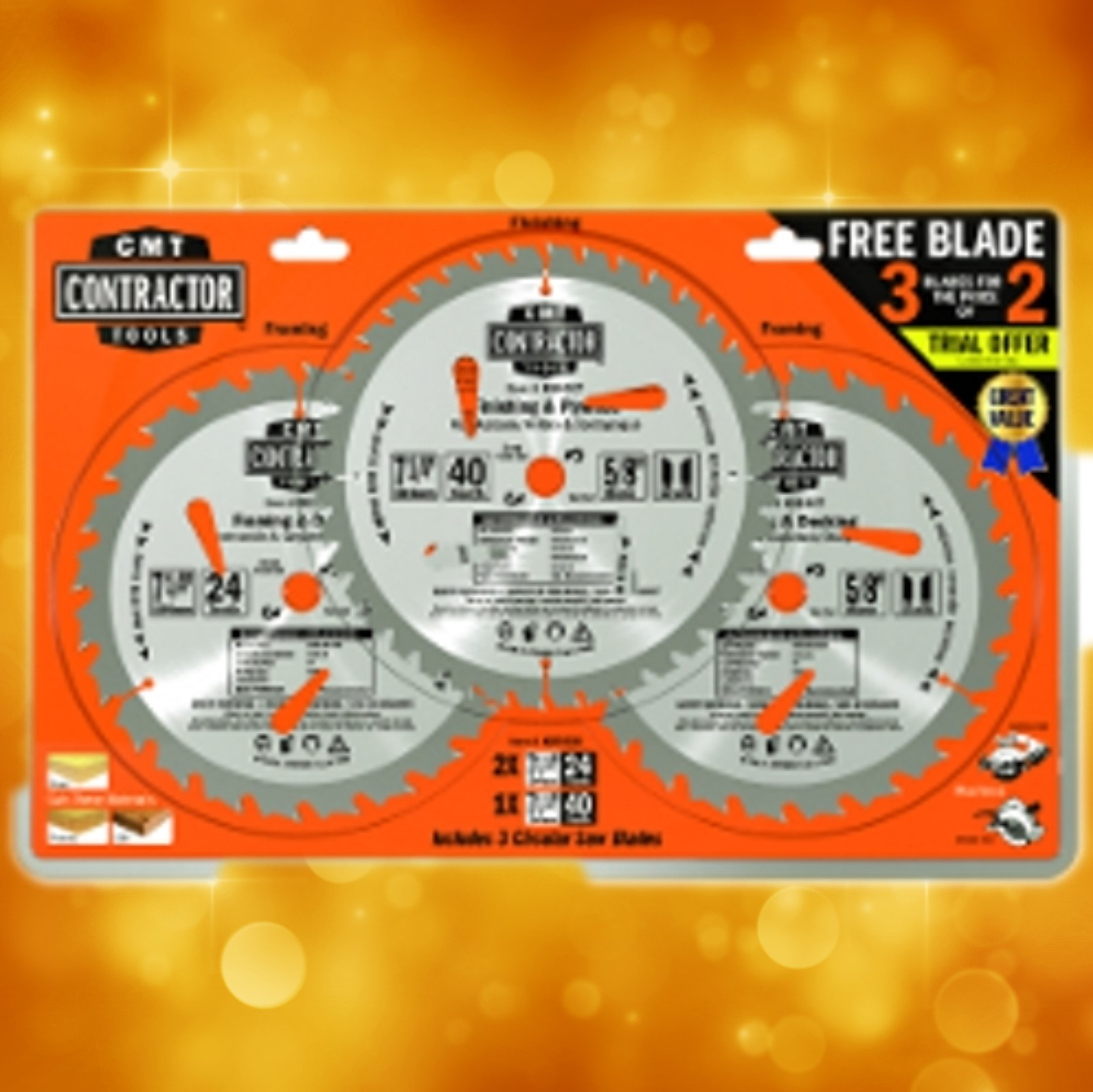 "CMT 7-1/4"" Saw Blade Combo Pack K0703C"
