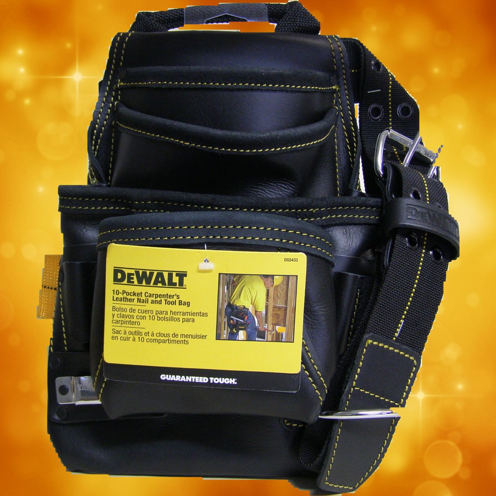 DeWalt DG5433-1 10 - Pocket Carpenter's Top Grain Grain Leather Nail and Tool Bag DG5433-1