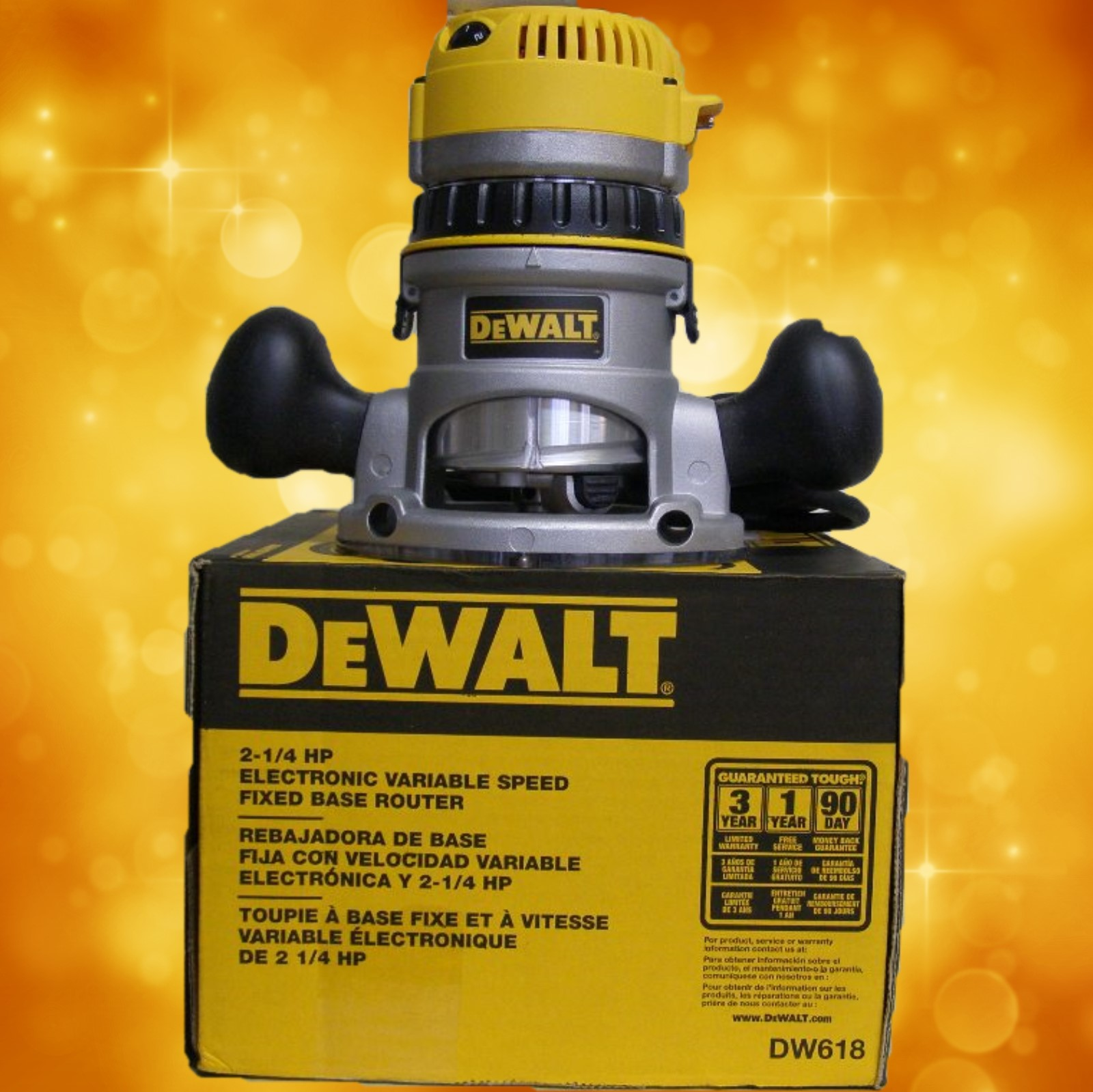 DeWalt DW618 2-1/4 HP (maximum motor HP) EVS Fixed Base Router with Soft Start DW618