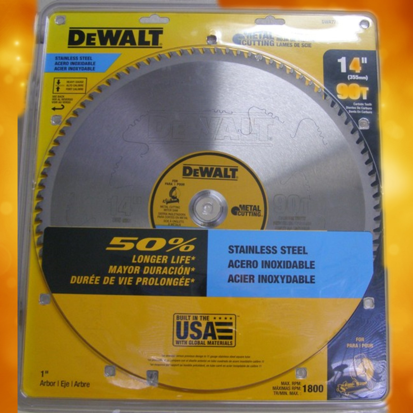 "DeWalt 14"" 90T Stainless Steel Metal Cutting Blade DW7749"