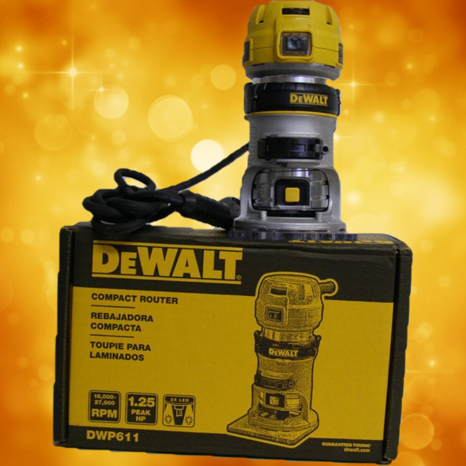 DeWalt DWP611 1-1/4 HP Max Torque Variable Speed Compact Router with LED's DWP611