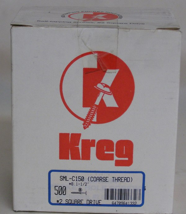 "Kreg Pocket Hole Screw SML-C150-500 Kreg 1-1/2"" #7, Self-Tapping, Coarse-Thread, Washer Head, 500 count SML-C150-500"