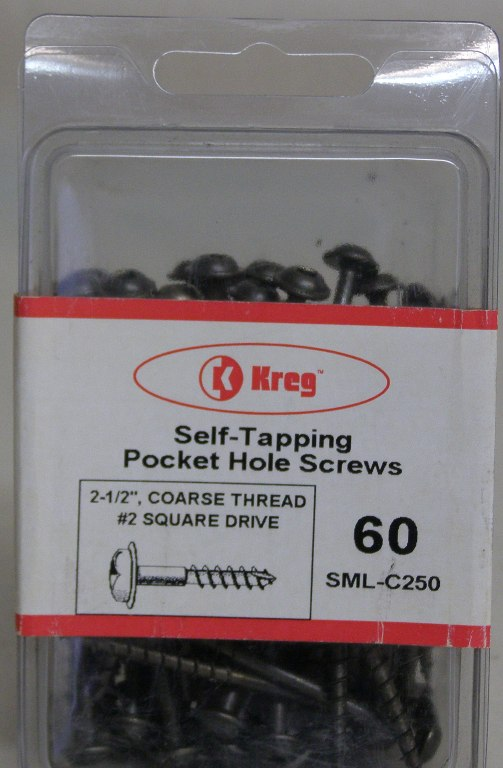 "Kreg Pocket Hole Screws SML-C250-60 Kreg 2-1/2"" #8, Self-Tapping, Coarse-Thread, Washer Head, 60 count SML-C250-60"