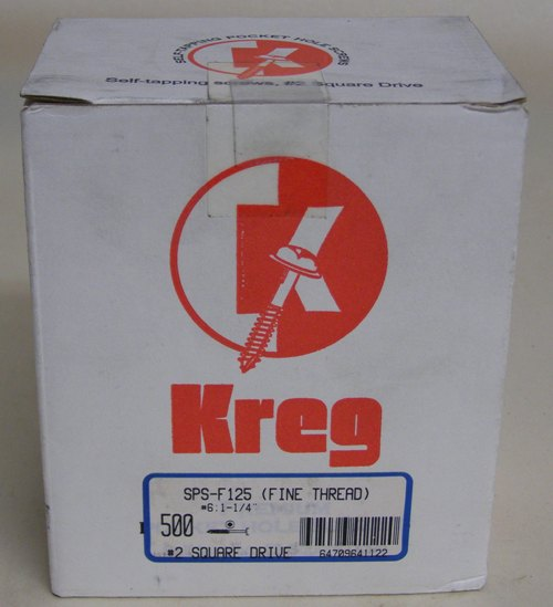 "Kreg Pocket Hole Screws SPS-F125-500 Kreg 1-1/4"" #7, Self-Tapping, Fine-Thread, Pan Head, 500 count SPS-F125-500"