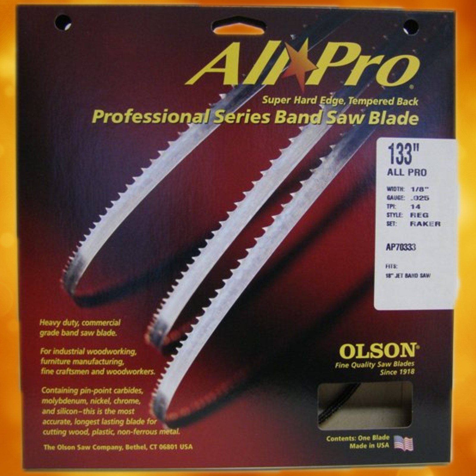 "Olson All Pro Band Saw Blades 133"" x 1/8"" x .025"" 14 TPI Style Regular AP70333"