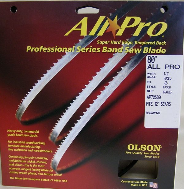 "Olson All Pro Band Saw Blades 80"" x 1/2"" x .025 3 TPI Style Hook AP72680"