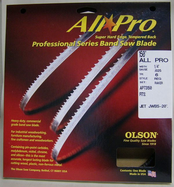 "Olson AP73150 150"" All Pro Band Saw Blade 1/4"" x .025"" 6 TPI Style Regular AP73150"