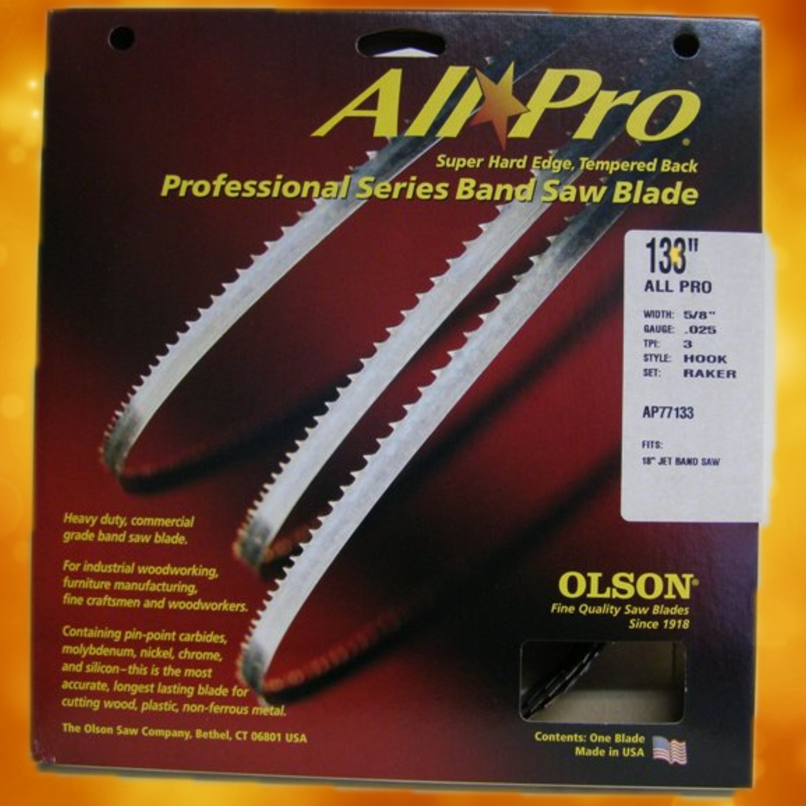 "Olson Band Saw Blade AP77133 Olson All Pro Band Saw Blades 133"" x 5/8"" x.025"" 3 TPI Style Hook AP77133"
