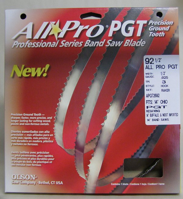 "Olson Band Saw Blade AP72692 Olson All Pro Band Saw Blades 92-1/2"" x 1/2"" x .025"" 3 TPI Style Hook AP72692"
