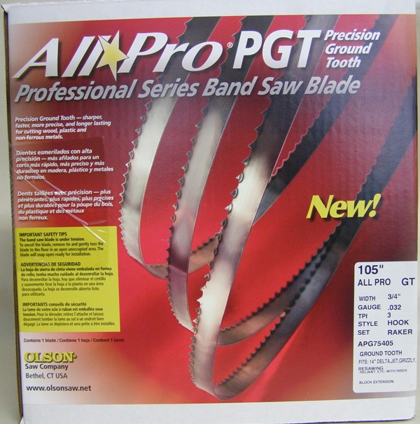 "Olson All Pro Band Saw Blades 105"" x 3/4"" x .032"" 3 TPI Style Hook AP75405"