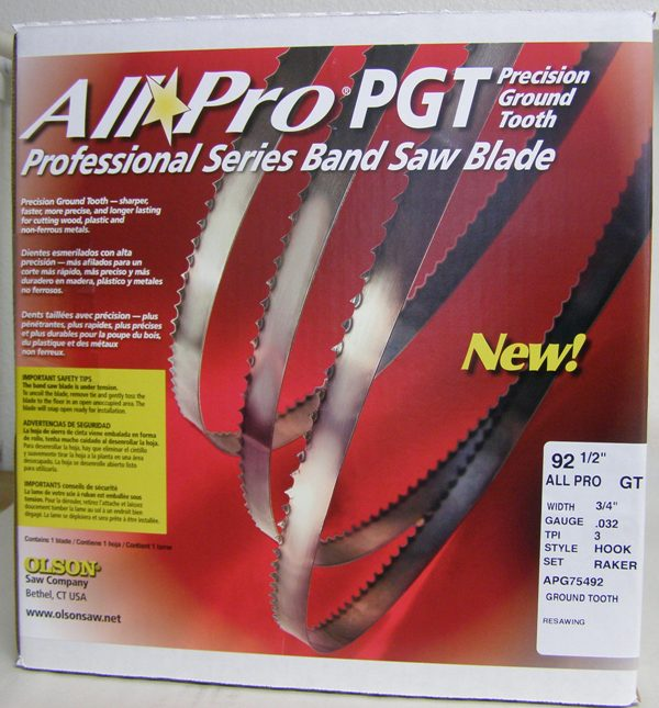 "Olson Band Saw Blade AP75492 Olson All Pro Band Saw Blades 92-1/2"" x 3/4"" x .025"" 3 TPI Style Skip AP75492"
