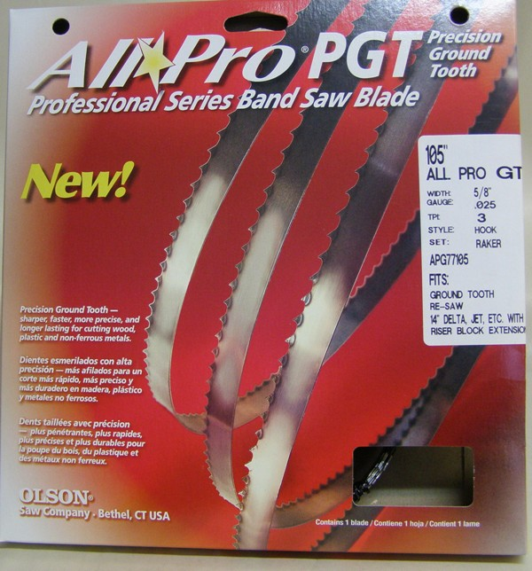 "Olson All Pro Band Saw Blades 105"" x 5/8"" x .025 3 TPI Style Hook AP77105"