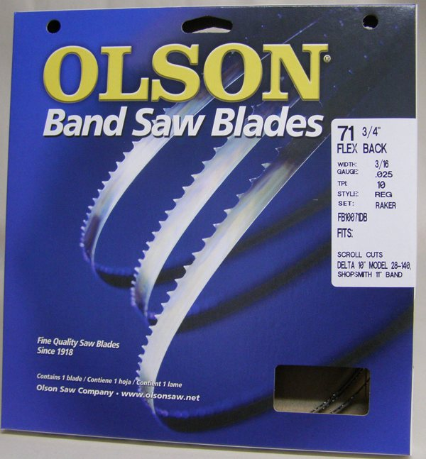 "Olson Hard Edge Flex Back 71-3/4"" x  3/16"" x .025 10 TPI Style Regular FB10071DB"