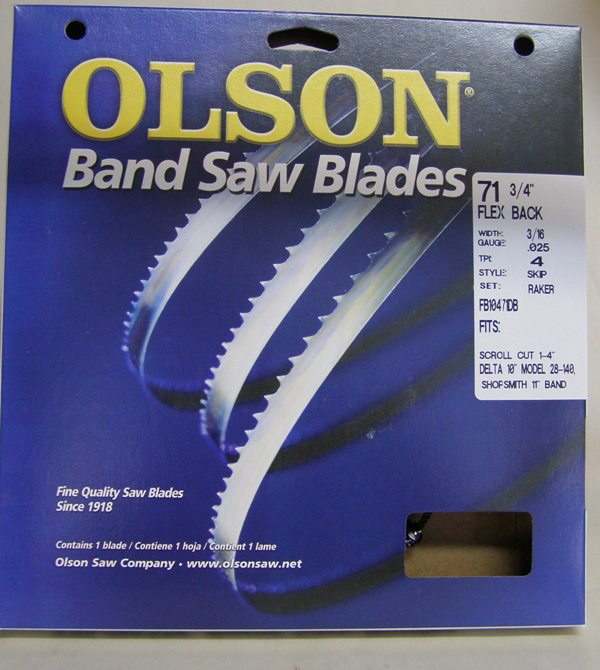 "Olson Band Saw Blade 71-3/4"" x 3/16"" x .025"" 4 TPI Style"