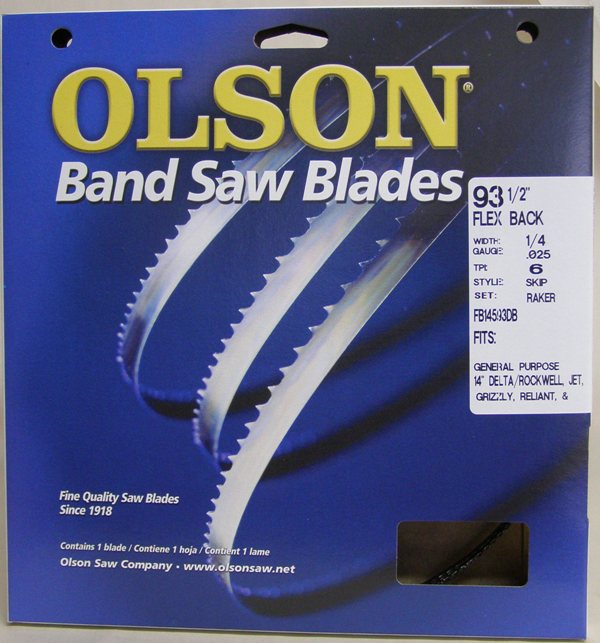 "Olson 93-1/2"" Band Saw Blade FB14893 1/4"" x .025 x14TPI Set Raker FB14893"