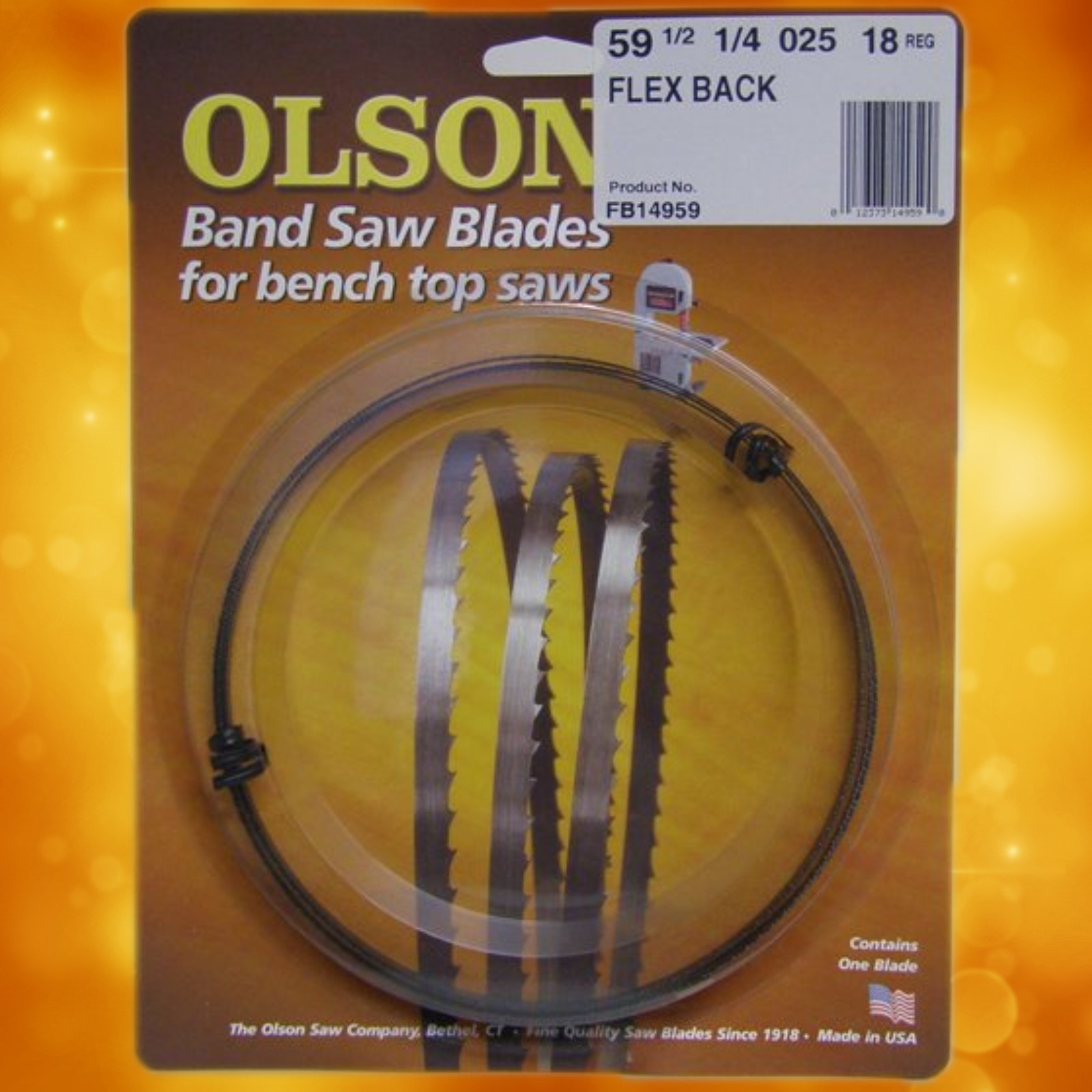 "Olson Band Saw Blade FB2502518R59.5 Olson Flex Back 59-1/2"" x 1/4"" x .025"" 18 TPI Style Regular FB2502518R59.5"