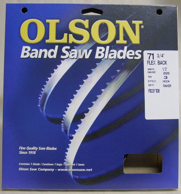 "Olson 71-3/4"" Band Saw Blade 1/2"" x .025""  3 Hook"