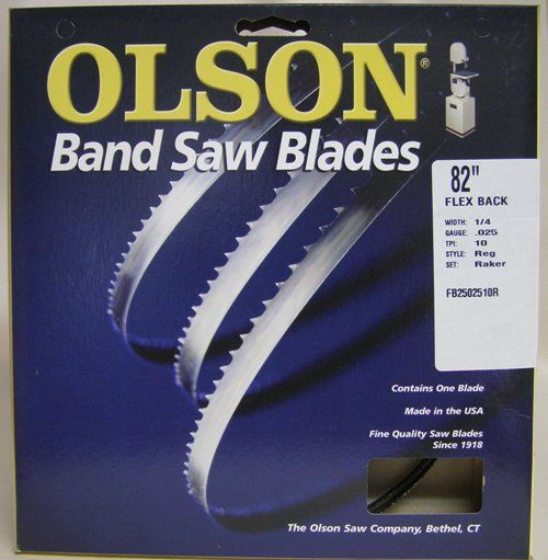 "Olson FB2502510R82 82"" Band Saw Blade 1/4"" x .025"" 10 TPI Style Reg FB2502510R82"