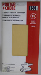 Porter-Cable 1/2 Sheet, Adhesive-Backed Sanding Sheets - 150 Grit 53014