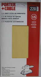 Porter-Cable 1/2 Sheet, Adhesive-Backed Sanding Sheets - 220 Grit 53018