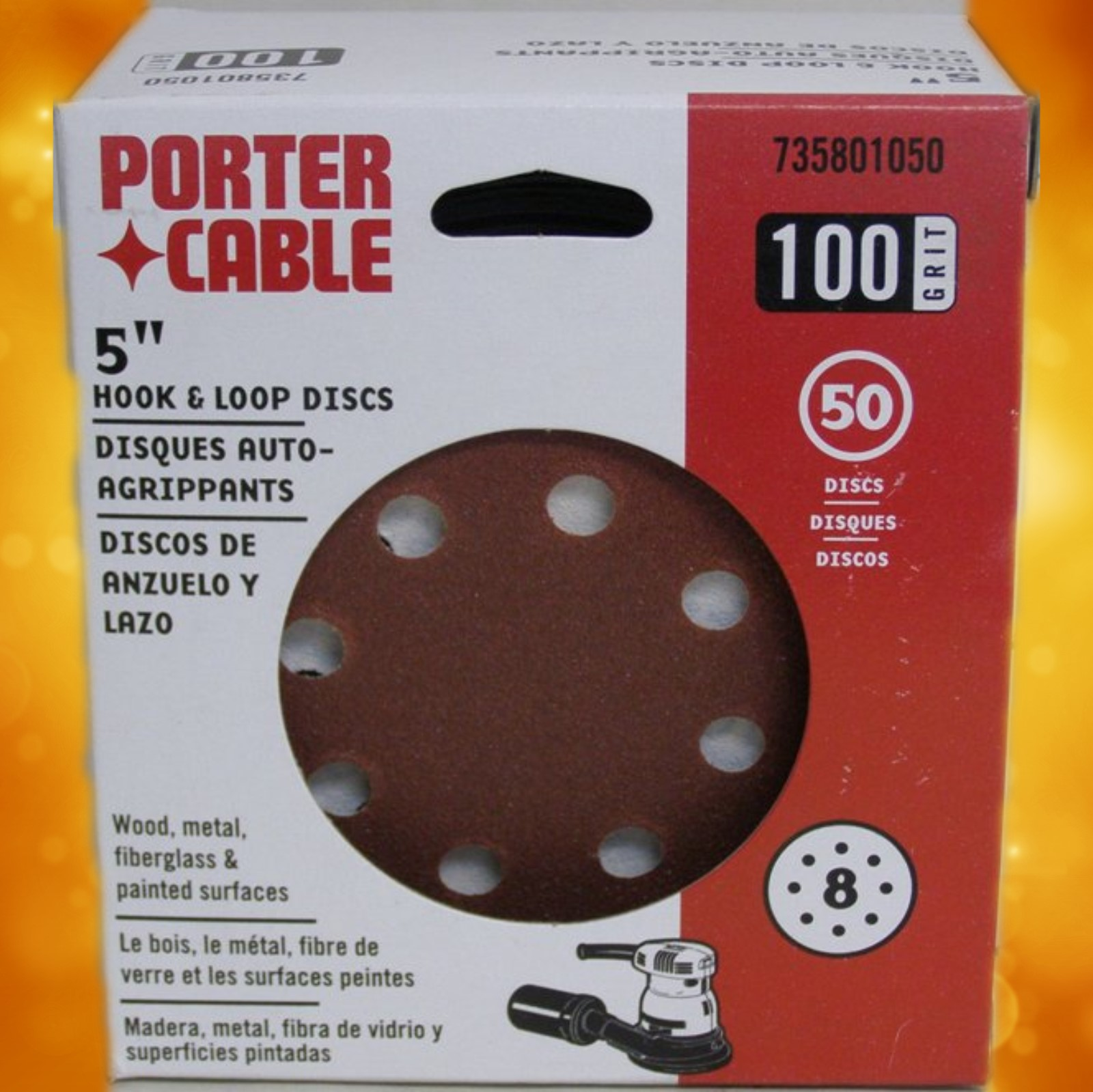 "735801050 Porter-Cable 5"" Eight-Hole, Hook & Loop Sanding Discs - 100 Grit (50 Pack) 735801050"