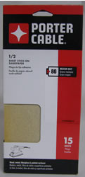 Porter Cable 1/2 Sheet, Adhesive-Backed Sanding Sheets - 80 Grit