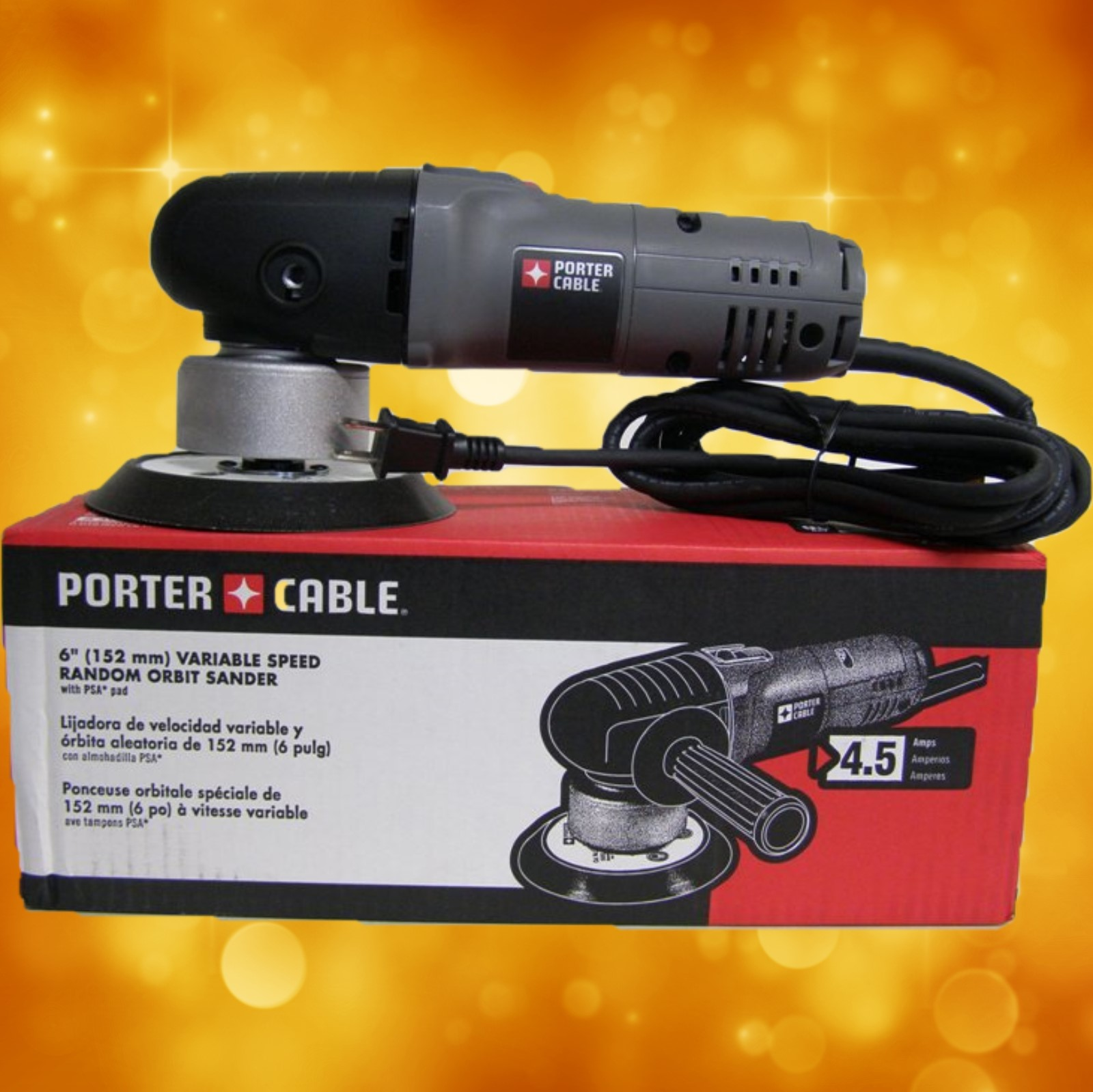 "Porter Cable Polisher 7346SP 6"" Variable-Speed Random Orbit Sander with Polishing Pad"