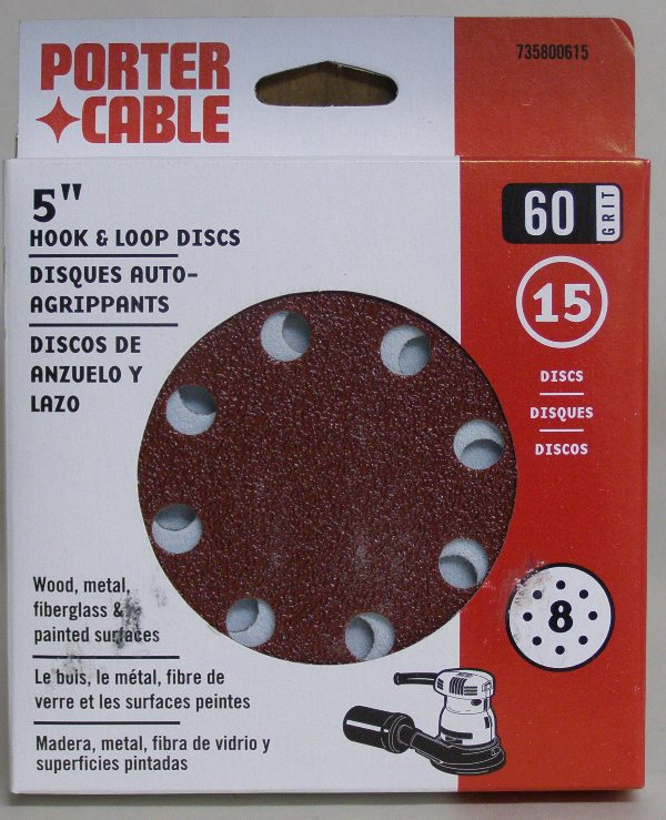 "Porter-Cable 5"" Eight-Hole, Hook & Loop Sanding Discs - 60 Grit (15 Pack) 735800615"