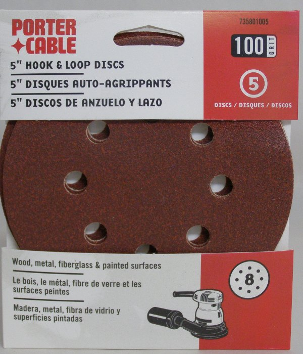 "Porter-Cable 5"" Eight-Hole, Hook & Loop Sanding Discs - 100 Grit (5 Pack) 735801005"