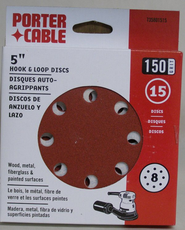 "Porter-Cable 5"" Eight-Hole, Hook & Loop Sanding Discs - 150 Grit (15 Pack) 735801515"
