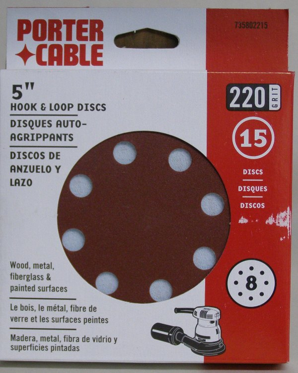 "Porter-Cable 5"" Eight-Hole, Hook & Loop Sanding Discs - 220 Grit (15 Pack) 735802215"