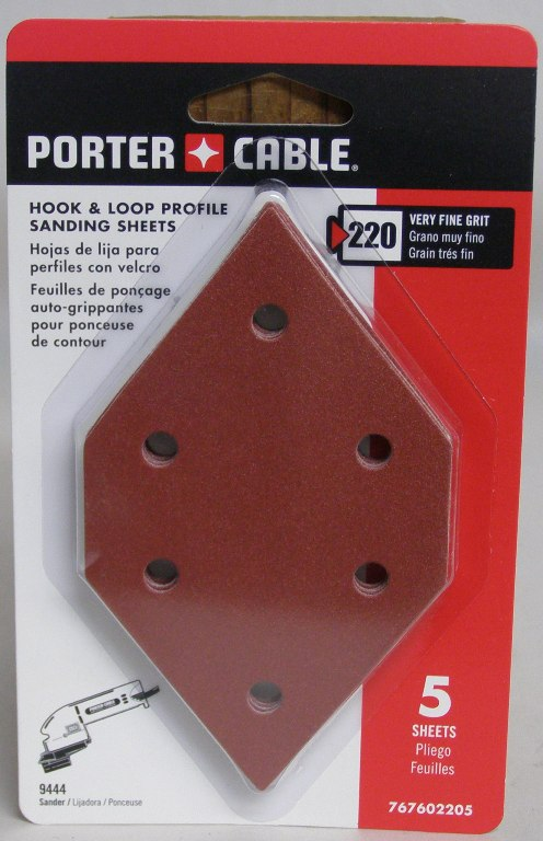 Porter-Cable Hook & Loop Diamond-Shaped Profile Sanding Sheets - 220 Grit 767602205