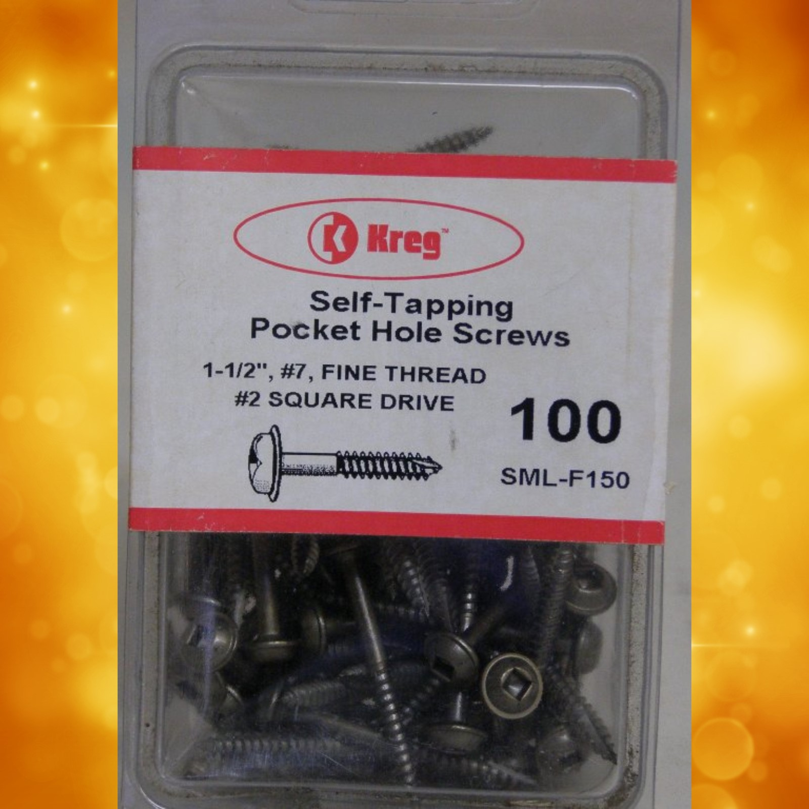 "Kreg Pocket Hole Screws SML-F150-100 Kreg 1-1/2"" #7, Self-Tapping, Fine-Thread, Washer Head, 100 count SML-F150-100"