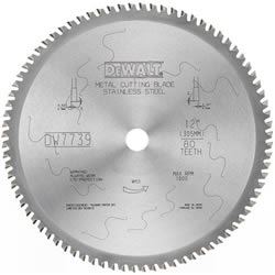 "DeWalt Metal Cutting Saw Blade DW7739 DeWalt 12"" 80T Stainless Steel Metal Cutting Blade DW7739"