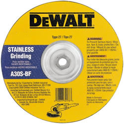 "DeWalt Type 27 4-1/2"" x 1/4"" x 5/8""-11 Stainless Steel Grinding Wheel DW8415"