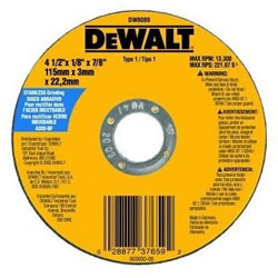 "DeWalt Type 1 4-1/2"" Stainless Steel Thin Cutting Wheel DW8080"