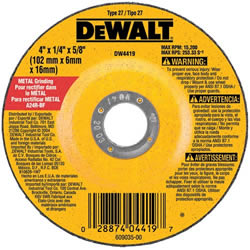 "DeWalt Type 27 4"" x 1/8"" x 5/8"" General Purpose Metal Cutting Wheel DW4418"