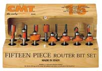"CMT 15-Piece Router Bit Assortment, 1/4"" shank 800.001.00 800.001.00"