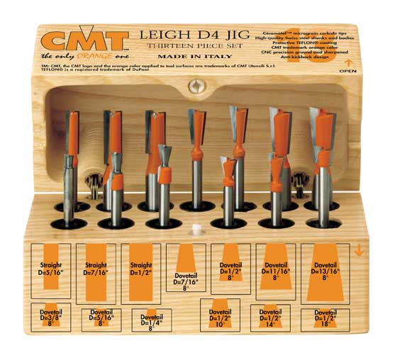 Cmt 13 Piece Dovetail Bit Set For Leigh D4 Jig Mike S Tools