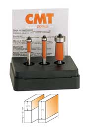 "CMT 3-Piece Flush Trim Router Bit Set 806.001.11 1/4"" shank"