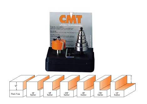 "CMT Rabbeting Router Bit Set 835.501.11 1/2"" cutting length 1/2"" shank"