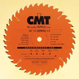 "CMT General Blade, 10"" diameter, thin kerf 214.040.10"